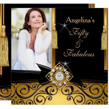 Fabulous 50 Gold Black Damask Photo Birthday Party Card