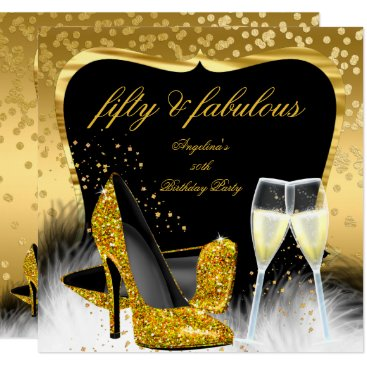 Fabulous 50 Party Gold Champagne Glitter Heels Invitation