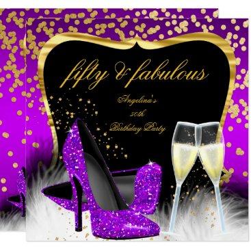 Fabulous 50 Party Purple Magenta Gold Champagne Invitation