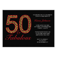 Fabulous 50th Red Black Leopard Birthday Party Custom Announcements