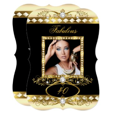 Fabulous Birthday Party Cream Pearl Gold Photo Card