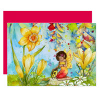 Fairy art watercolour girl's birthday party card