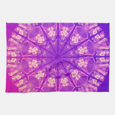 Fairy Lace Mandala Delicate Abstract Cream Violet Hand Towel