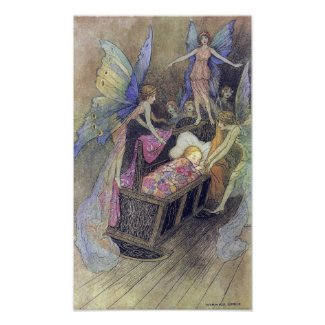 Fairy Singing to Baby by Warwick Goble Poster print