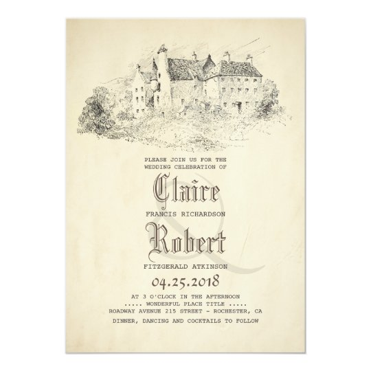 Fairytale Story Book Old Castle Vintage Wedding Invitation