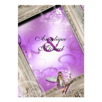 Fairytale wedding gold purple cards