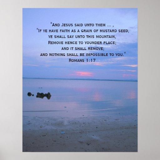 Faith Bible Verse Inspirational Ocean Poster Zazzle