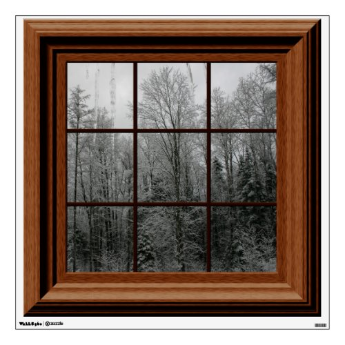 Fake Window View Winter Snow Scene Trees Icicles Room Stickers
