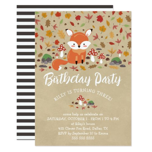 Fall Fox Kids Sandy Woodland Birthday Party Invitation