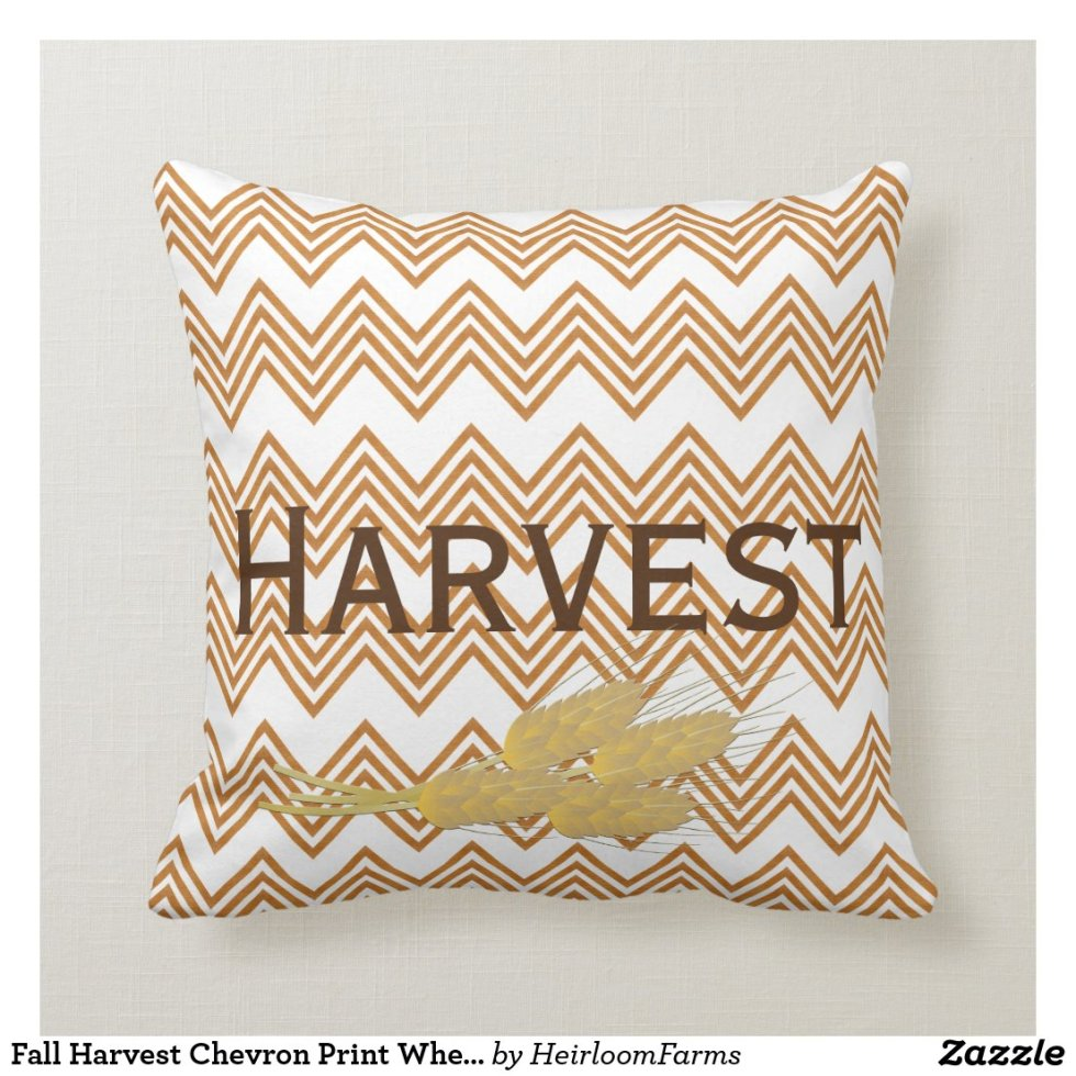 Fall Harvest Chevron Print Wheat Throw Pillow