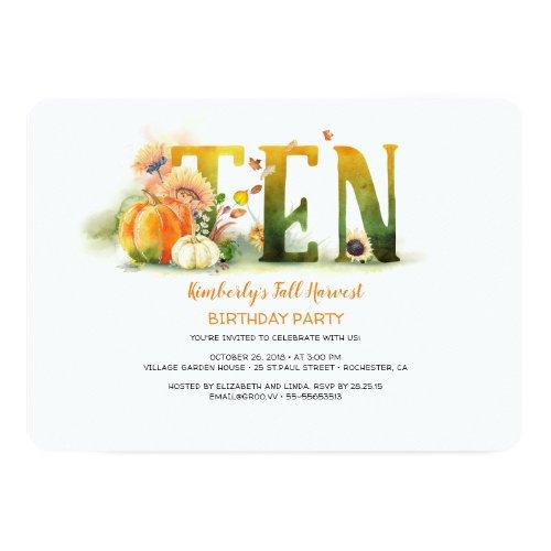Fall Harvest Pumpkins 10 Birthday Party Invitation