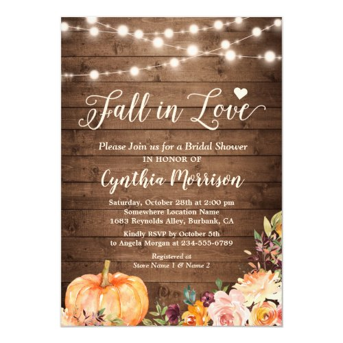Fall in Love Bridal Shower Rustic Pumpkin Floral Invitation
