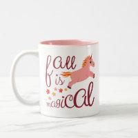 Fall Is Magical Peach Pink Unicorn Mug