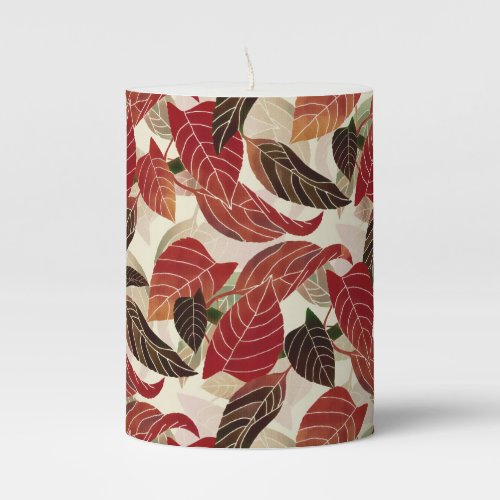 Fall leaves Pattern Pillar Candle