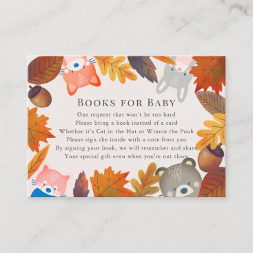 Fall Leaves Woodland Animals Brown Book Request Enclosure Card