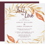 Fall Love Golden Foliage Autumn Burgundy Wedding Invitation