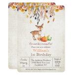 Fall Pumpkin and Deer 1st Birthday Invitation