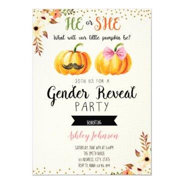 Fall pumpkin gender reveal card invitation