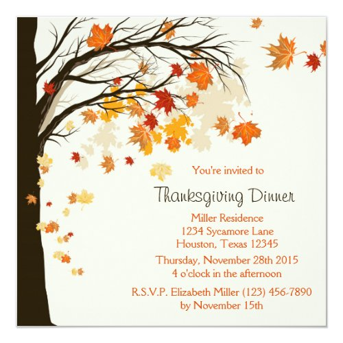 Falling Leaves Thanksgiving Dinner Invitation