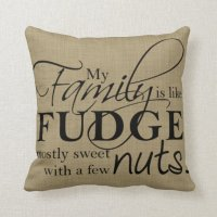 Family & Fudge Throw Pillow | Zazzle