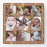 Family Photo Collage 9 Instagram Pics Wood Burlap Square Wall Clock