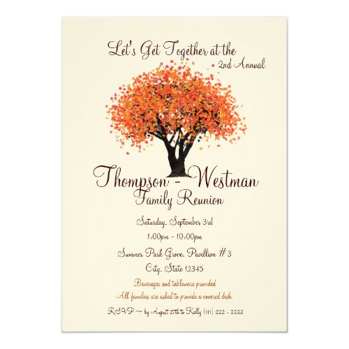 Family Reunion Autumn Tree Card