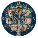 Family Tree Photo Collage 7 Custom Pics Dark Blue Large Clock