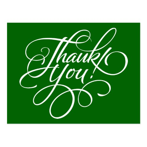 Fancy Script Christmas Green Thank You Card