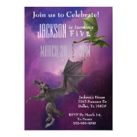 Fantasy Dragon Magic Space Galaxy Birthday Party Card