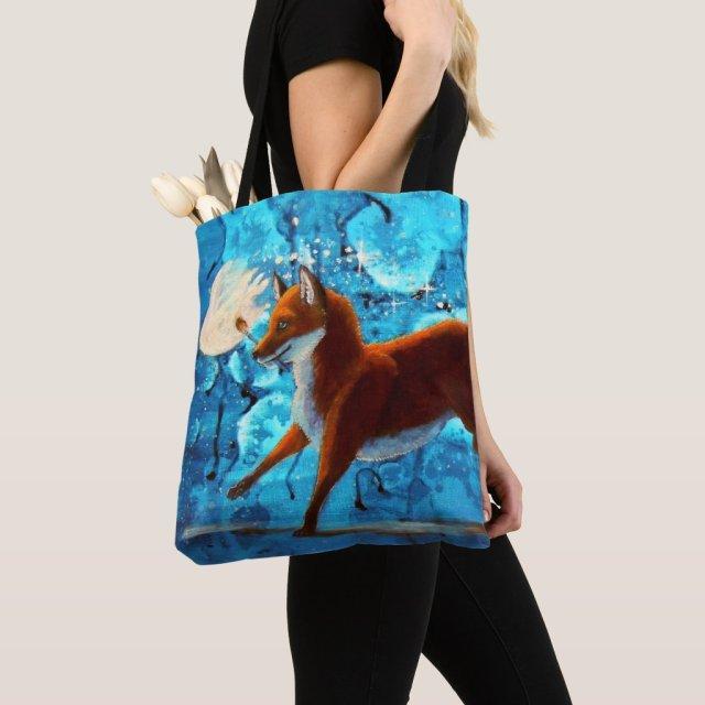 Fantasy Red Kitsune Fox Illustration Tote Bag