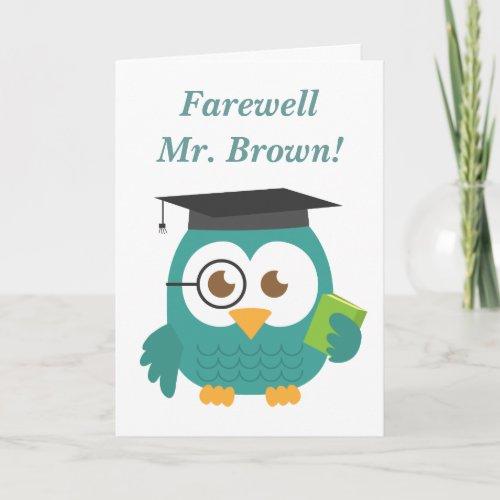Farewell to Teacher, Cute Teacher Owl Card