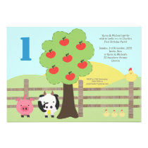 Farm Animals Apple Tree 1st Birthday Party Invite