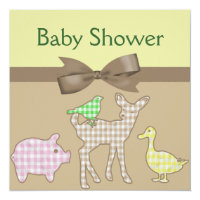 Farm Animals Gingham Neutral Baby Shower Card