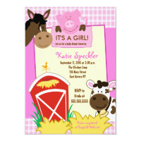 Farm Babies Girl 5x7 Baby Shower INvitation