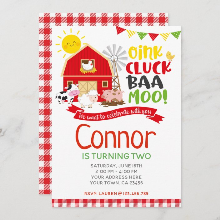 farm birthday invitation barnyard party invitation zazzle com