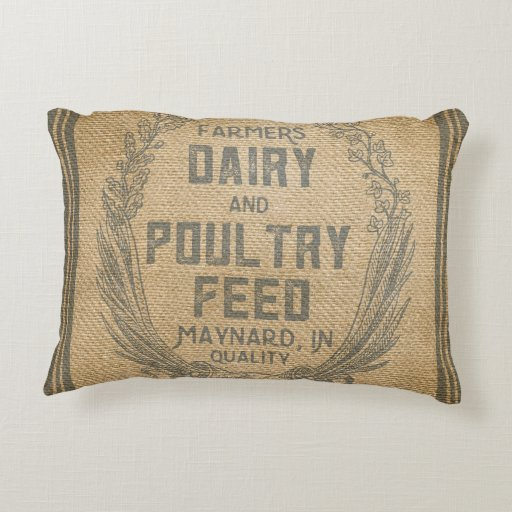 Farmers Dairy Poultry Feed Sack Burlap Decorative Pillow