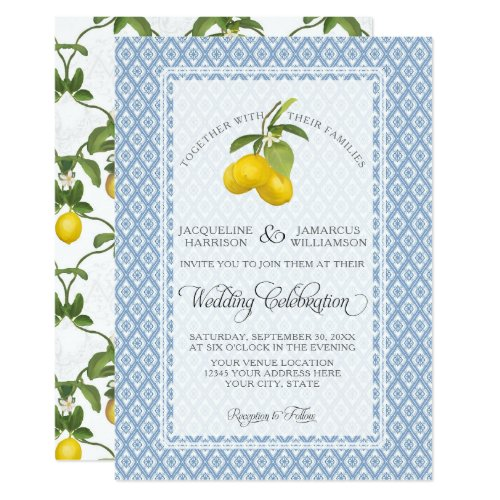 Farmhouse Garden Lemon BOHO Citrus Blue and White Card