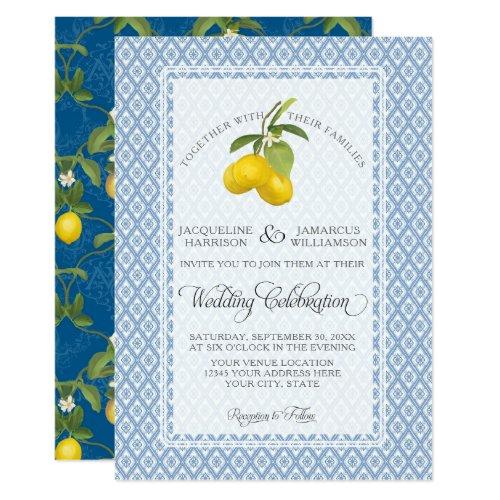 Farmhouse Garden Lemon BOHO Citrus Navy and White Card