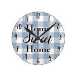 Farmhouse Rustic Blue Grey Buffalo Plaid Square Round Clock