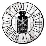 Farmhouse White Wood Rustic Milk Jug Farm Sweet Large Clock