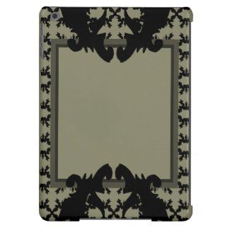 Fashion iPad Case Ornate Modern Black Grey 2