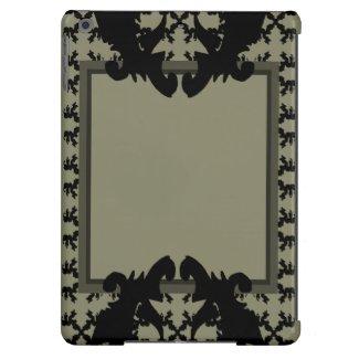 Fashion iPad Case Ornate Modern Black Grey 2
