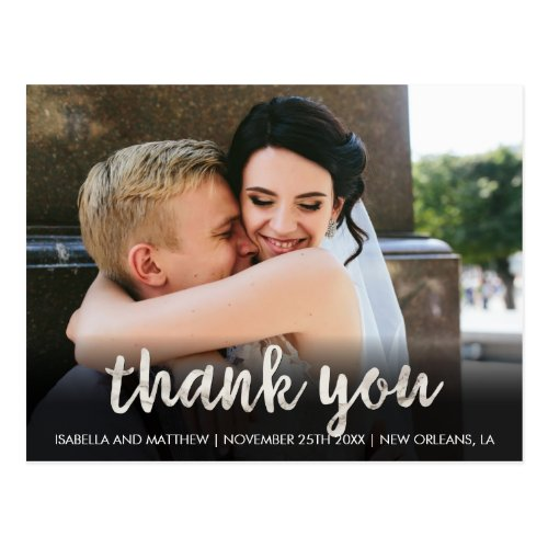 Fashionable White Marble Thank You Wedding Image Postcard