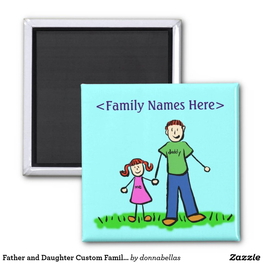 Father and Daughter Custom Family Character Magnet