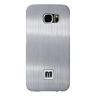 Faux Brushed Aluminum with custom monogram Samsung Galaxy S6 Case