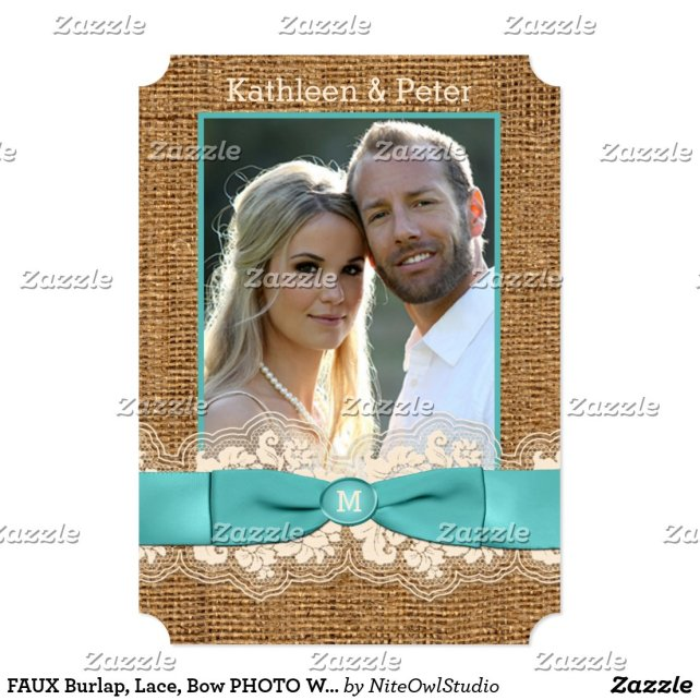 FAUX Burlap, Lace, Bow PHOTO Wedding Invite - Aqua