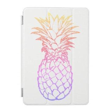 Faux Glitter Pineapple White iPad Smart Cover