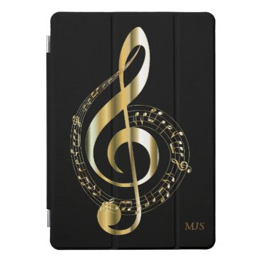 Faux Gold Black Music Notes Optional Monogram iPad Pro Cover