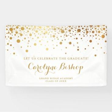 Faux Gold Confetti Personalized Graduation Banner
