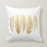 Faux Gold Feather Tribal Print Pillow | Zazzle